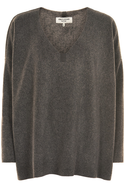 HENRIETTE STEFFENSEN Copenhagen 1287 V-NECK SWEATER EARTH