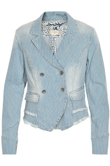 CREAM STRIPED JEANS JACKET 10601578