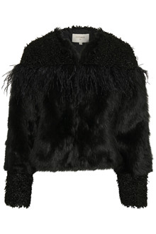 CREAM JEANELLE FAKE FUR JACKET 10604158