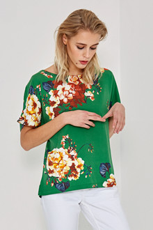 Denim Hunter SØRINE GREEN FLOWER BLOUSE 10701752