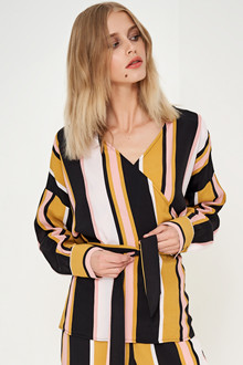 Denim Hunter TRISH STRIPED WRAP BLOUSE 10701806