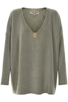 HENRIETTE STEFFENSEN Copenhagen 1287G V-NECK SWEATER DUSTY GREEN