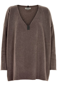 HENRIETTE STEFFENSEN Copenhagen 1287 V-NECK SWEATER BROWN