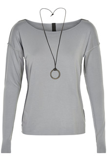 HENRIETTE STEFFENSEN Copenhagen 6014 BLOUSE W. NECKLACE GREY BLUE