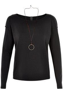 HENRIETTE STEFFENSEN Copenhagen 6014 BLOUSE W. NECKLACE BLACK