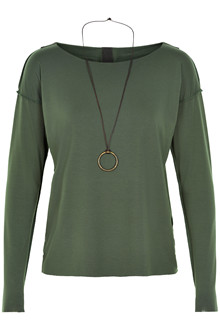 HENRIETTE STEFFENSEN Copenhagen 6014 BLOUSE W. NECKLACE GREEN