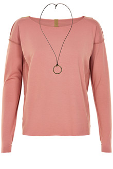 HENRIETTE STEFFENSEN Copenhagen 6014G BLOUSE W. NECKLACE OLD ROSE