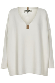 HENRIETTE STEFFENSEN Copenhagen 1287G V-NECK SWEATER OFF-WHITE