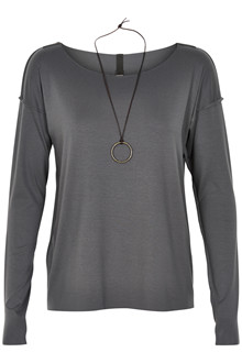 HENRIETTE STEFFENSEN Copenhagen 6014 BLOUSE W. NECKLACE GREY
