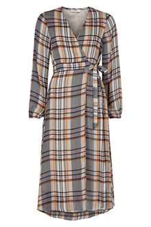 SOAKED IN LUXURY CELEST CHECKED WRAP DRESS 30404105
