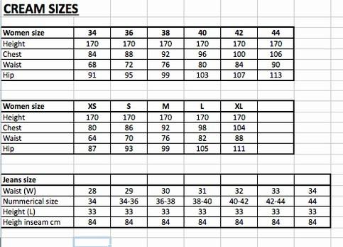 størrelsesskema tøj