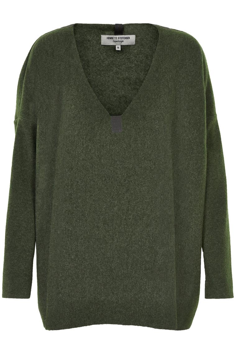 HENRIETTE STEFFENSEN Copenhagen 1287 V-NECK SWEATER GREEN