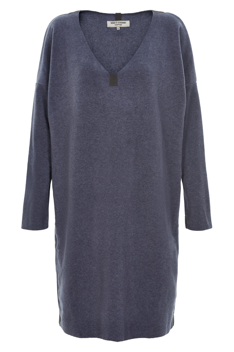 HENRIETTE STEFFENSEN Copenhagen 3210 V-NECK DRESS DEEP BLUE