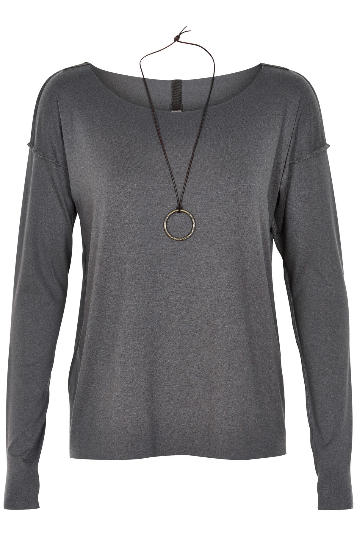 Image of   HENRIETTE STEFFENSEN Copenhagen 6014 BLUSE W. NECKLACE GREY (Grey, XL)