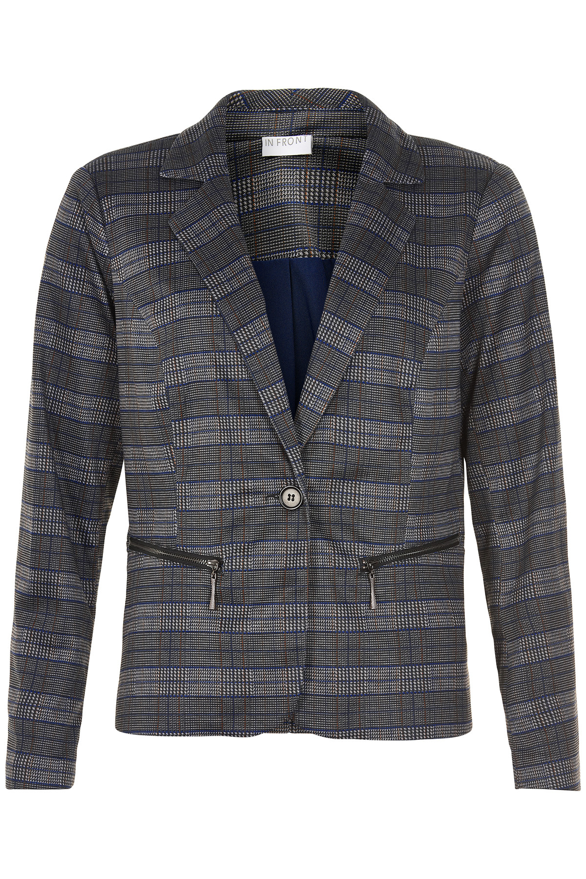 Image of   IN FRONT ASTRID CHECKED JAKKE 12846 (Night Blue 590, XL)