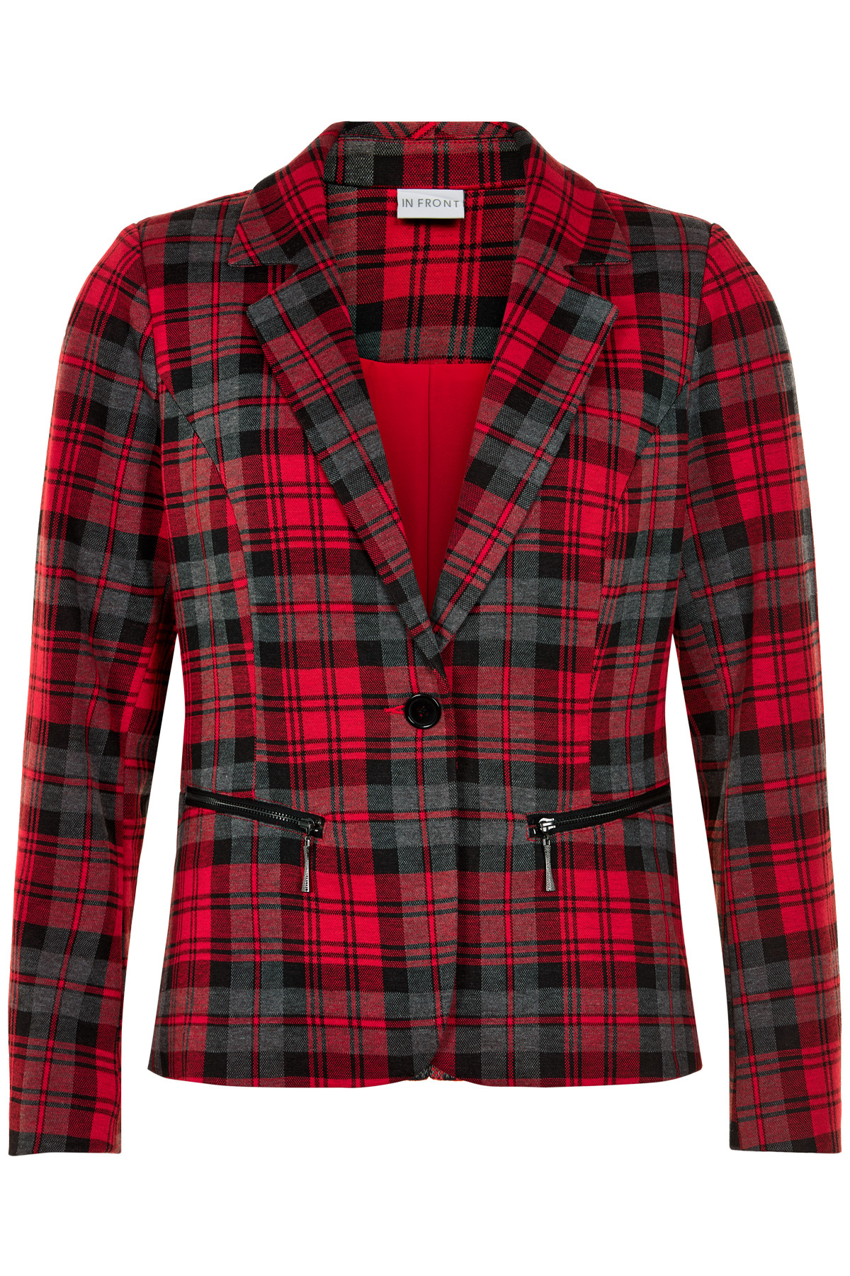 Image of   IN FRONT BERNICE CHECKED JAKKE 12848 (Red 409, XL)