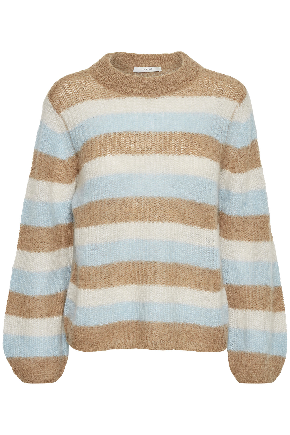 Image of   GESTUZ HOLLY STRIPE PULLOVER (Tan Multi Stripe 90559, L)