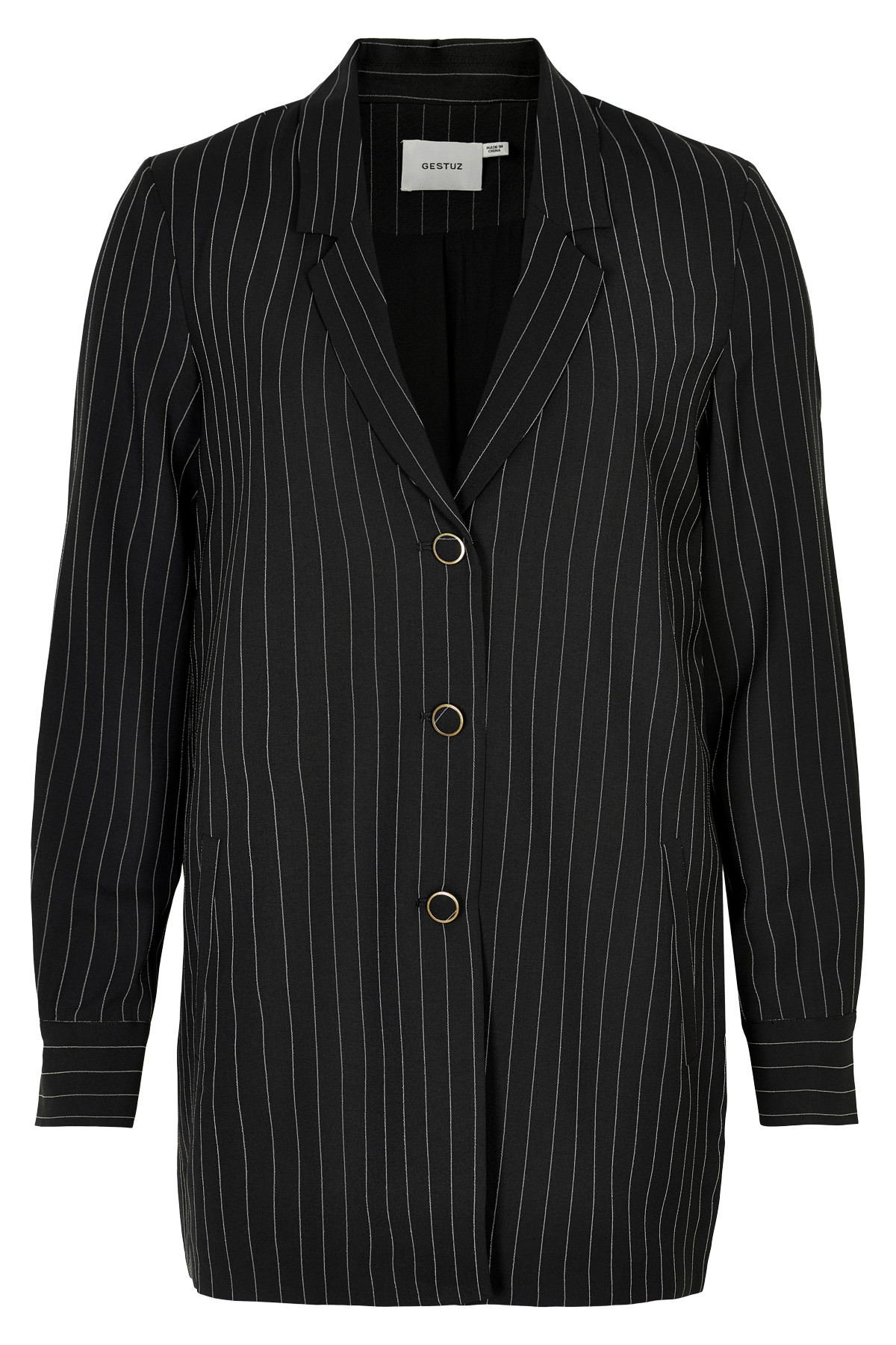 Image of   GESTUZ TARA BLAZER B (Black W. White Stripes 90136, 38)