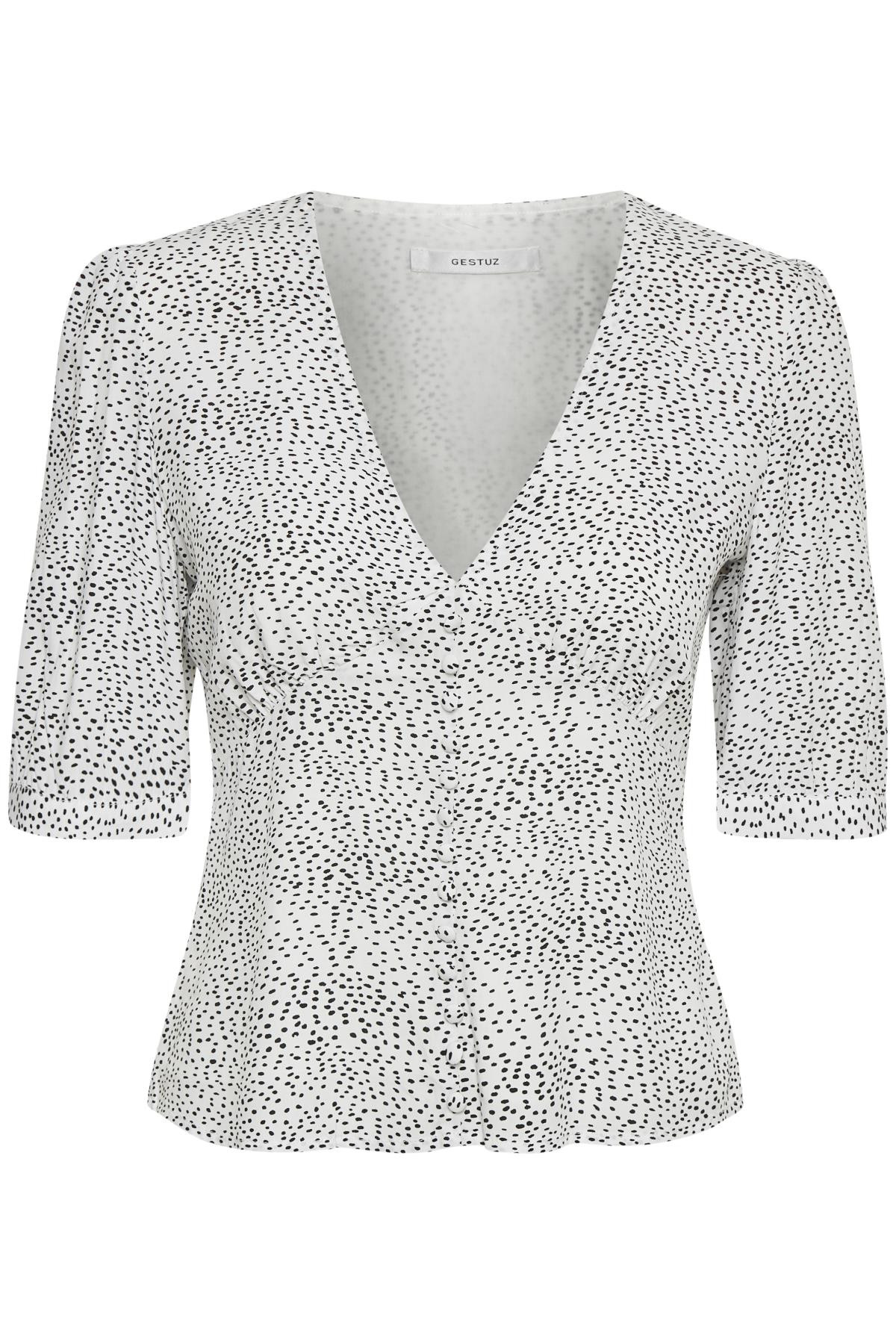 Image of   GESTUZ CATHRINGZ BLUSE (White With Black Dot 90269, 38)