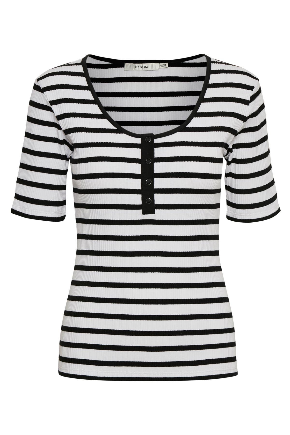 Image of   GESTUZ REGGGZ TEE (White W. Black Stripes 90142, XS)