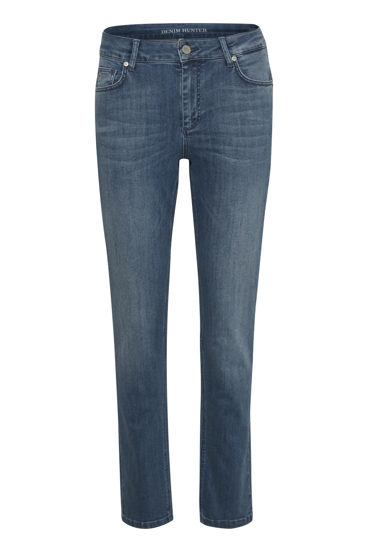 "Image of   Denim Hunter DHCELINA HIGH STRAIGHT JEANS 10702639 (Blue Wash 38510, ""32"", 30)"