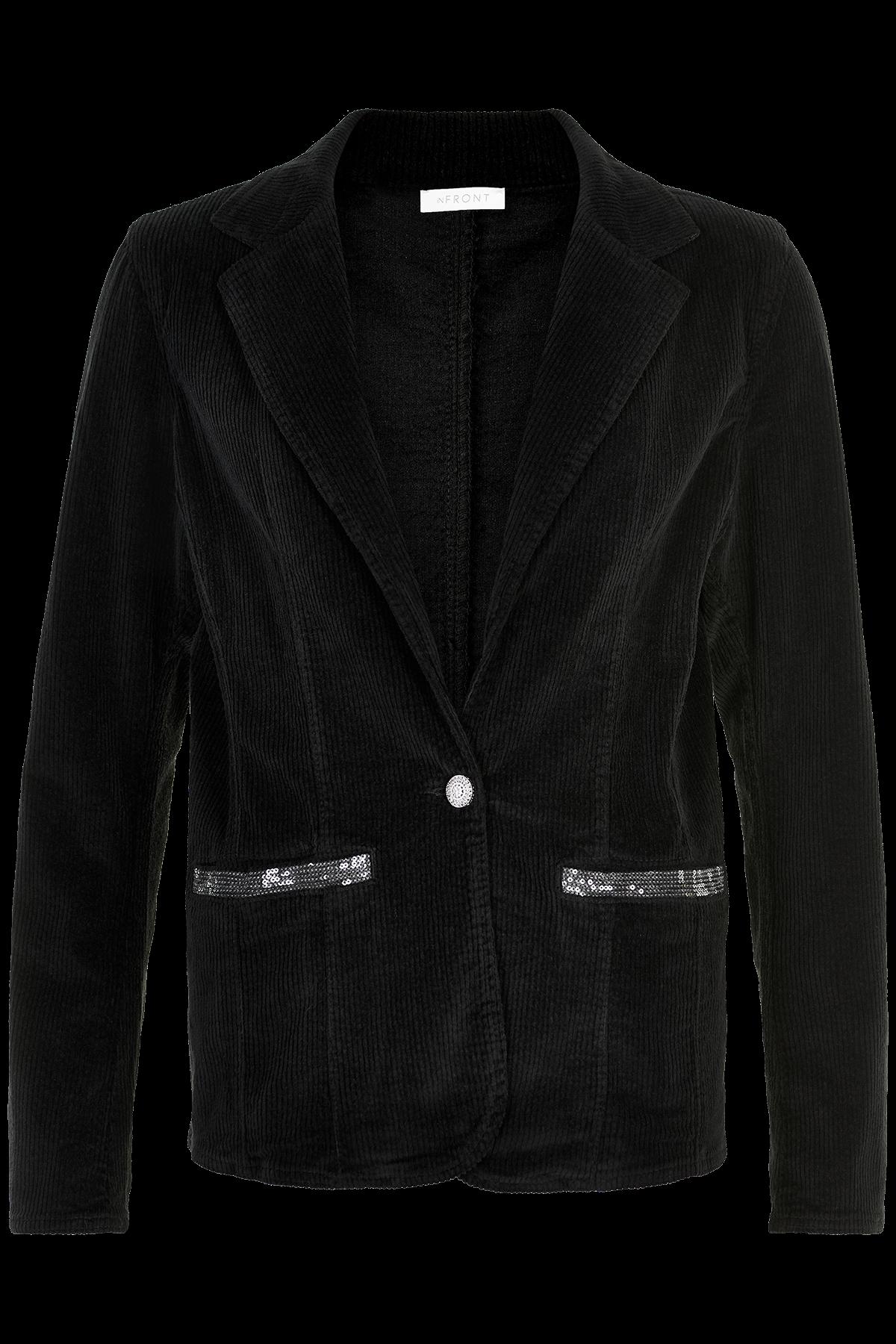 Image of   IN FRONT PIPA CORDUROY BLAZER JAKKE 13546 (Black 999, S)
