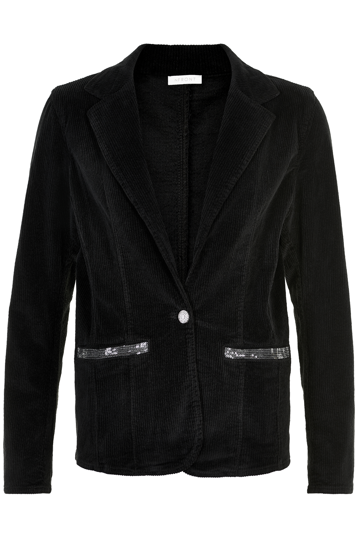 Image of   IN FRONT PIPA CORDUROY BLAZER JAKKE 13546 (Black 999, XL)