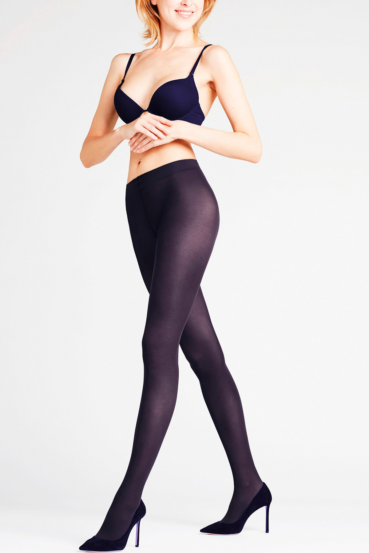 Image of   Falke Matt Deluxe Tights Marineblå - 40630 (Marine Blue, L)