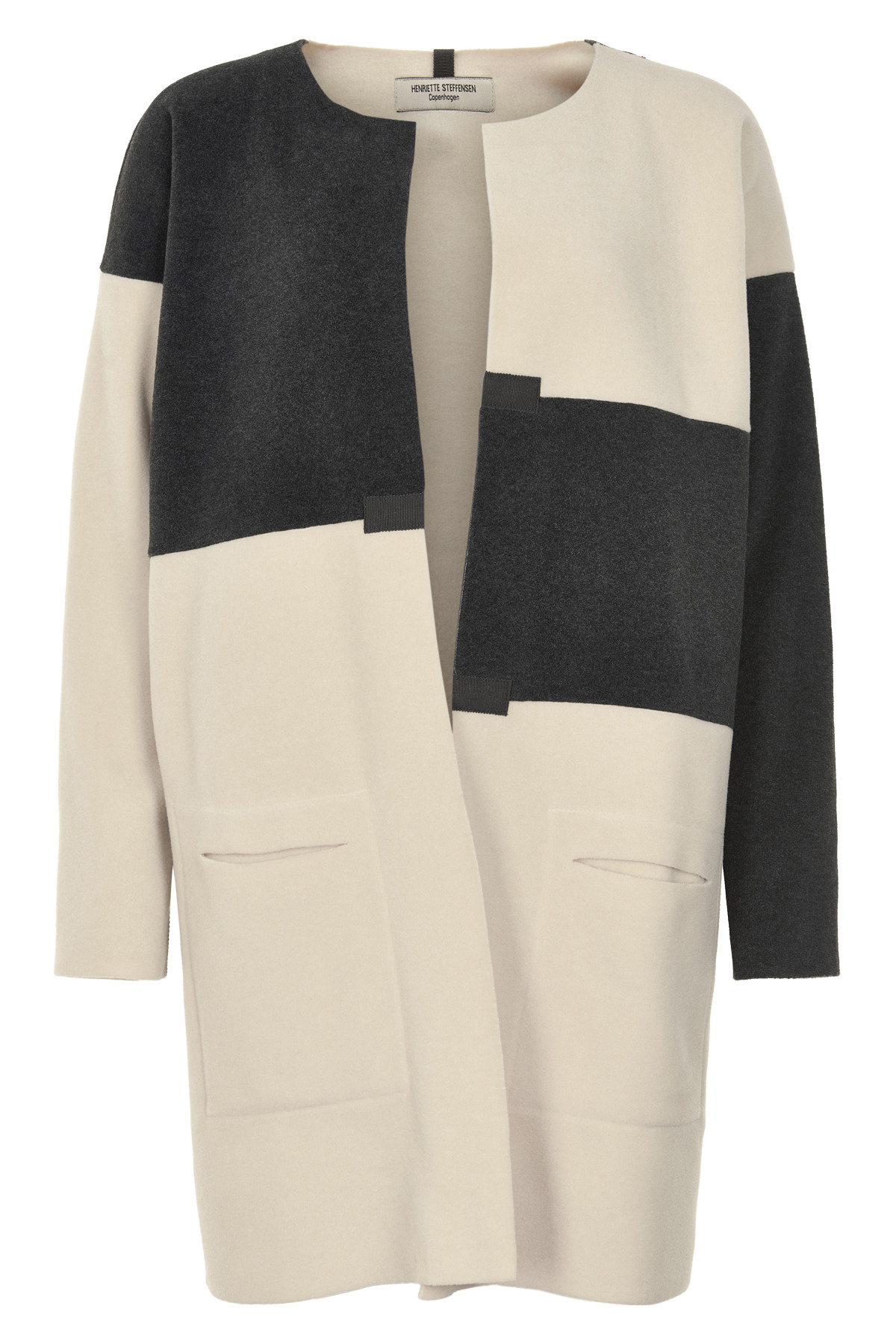 Image of   HENRIETTE STEFFENSEN Copenhagen 7116 CARDIGAN BLACK/WINTER WHITE (Black/Winter/White, ONESIZE)