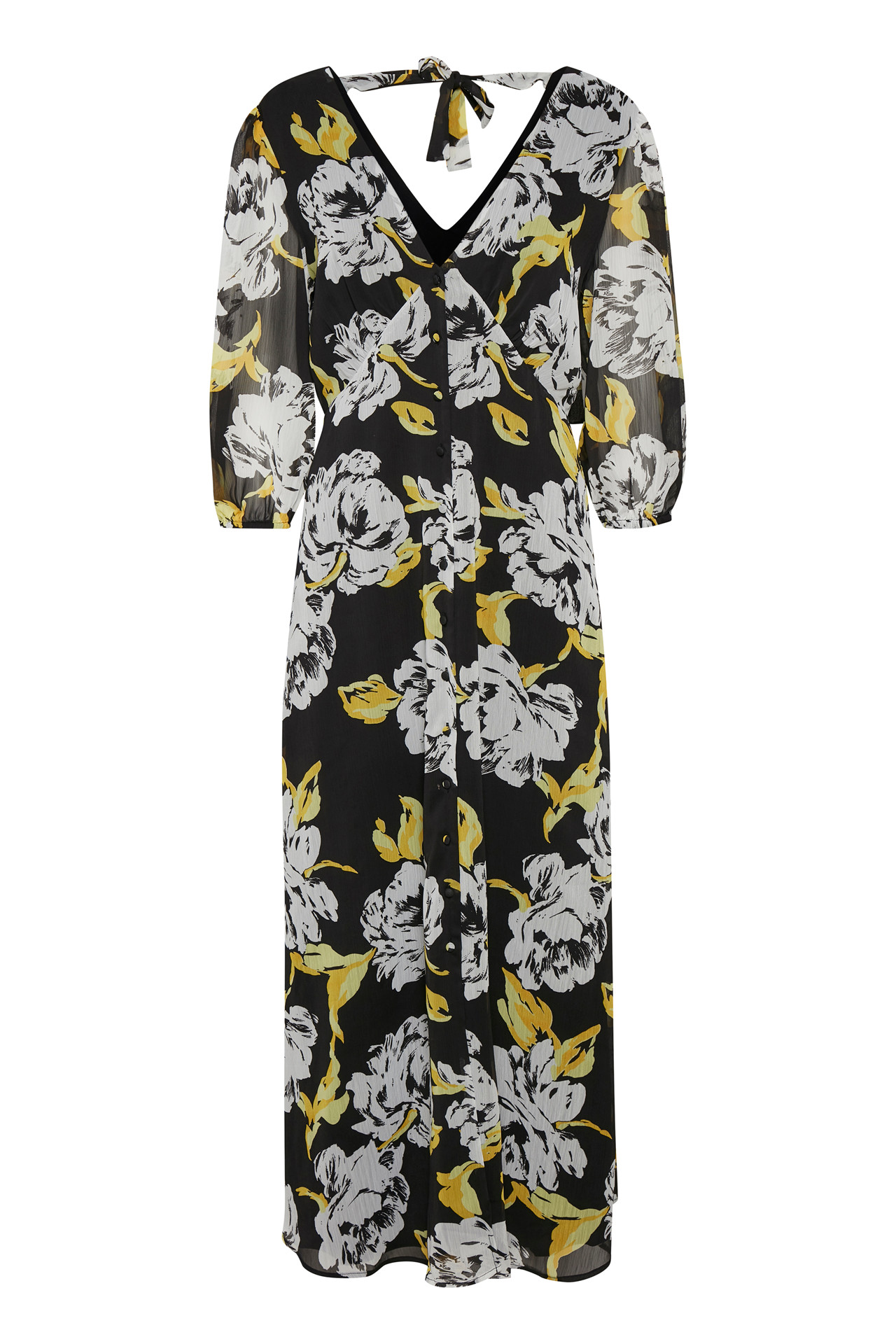 GESTUZ TESSGZ LANG KJOLE 10904248 (Yellow/Black Flower 90692, 36)