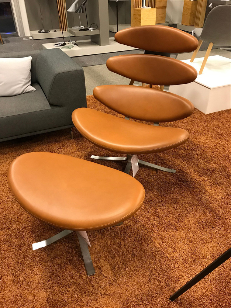 Corona stol inkl. skammel fra Erik Jørgensen (udstillingsmodel)