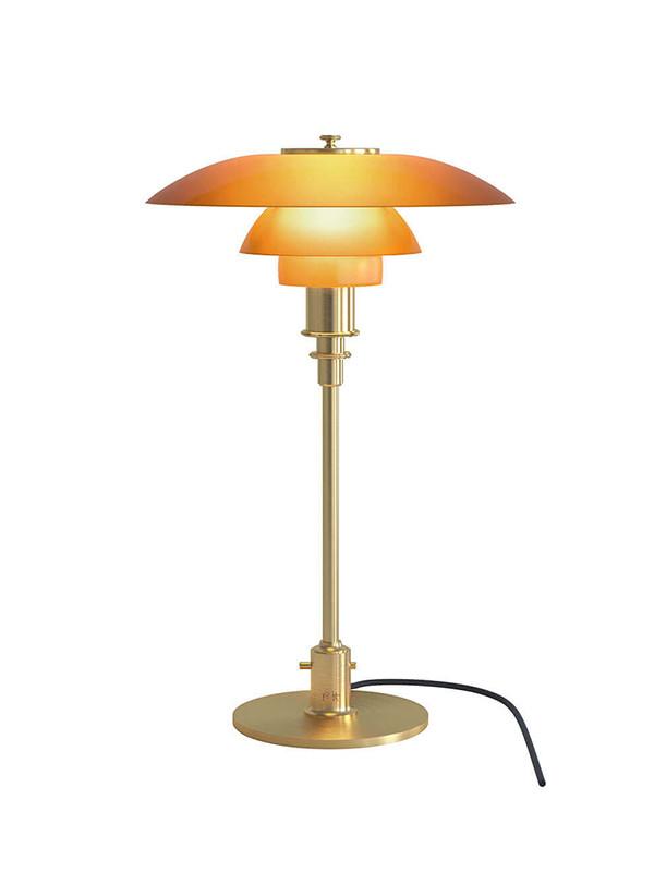 PH 3/2 bordlampe med ravfarvet glas fra Louis Poulsen