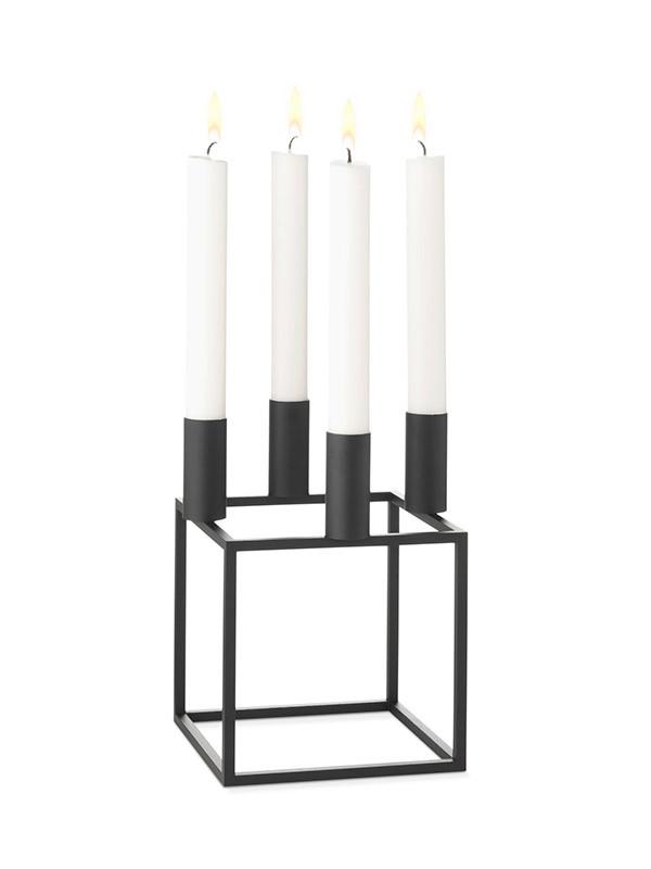 Kubus 4 sort lysestage fra By Lassen