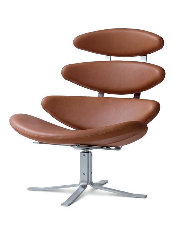 Tilbud på Corona stol med anilinlæder fra Erik Jørgensen