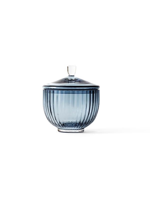Bonbonniere i blå glas fra Lyngby Porcelæn