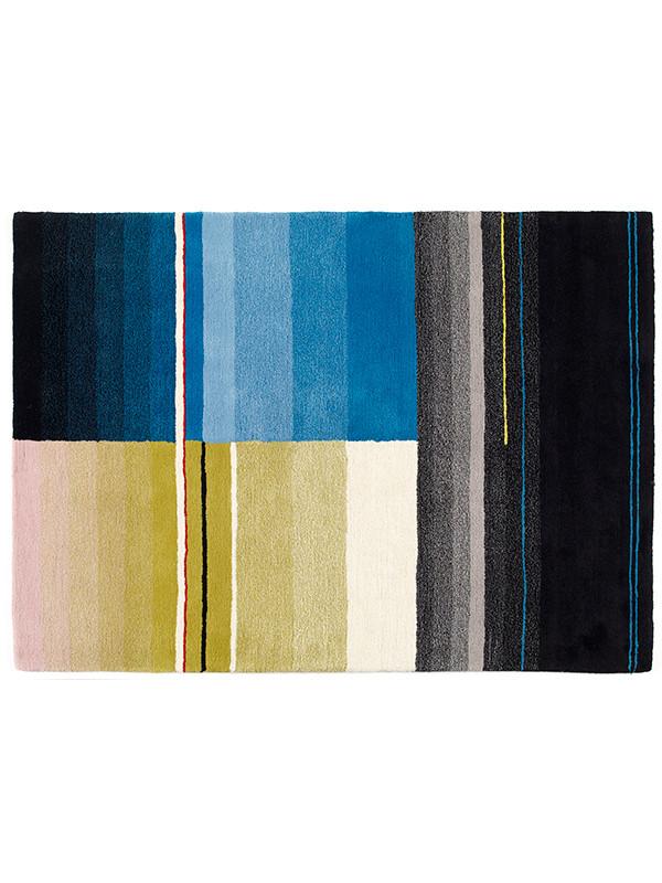 Colour tæppe, sort/turkis/gul fra Hay