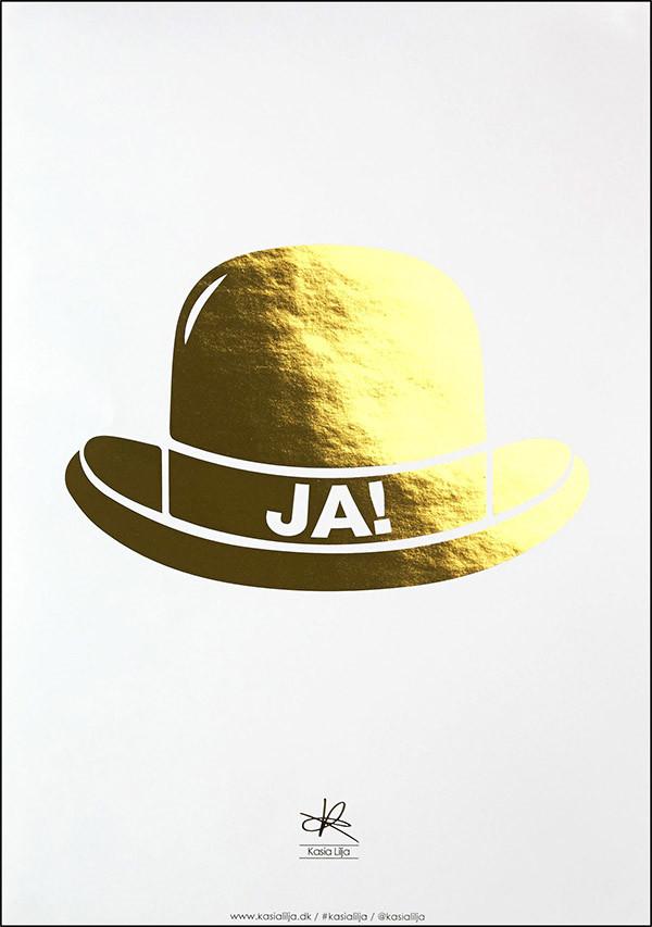 Ja Hat guld plakat af Kasia Lilja