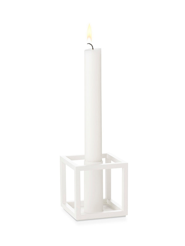 Kubus 1 hvid lysestage fra By Lassen