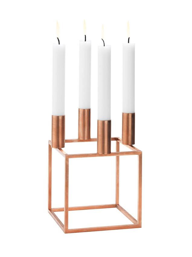 Kubus 4 kobber lysestage fra By Lassen