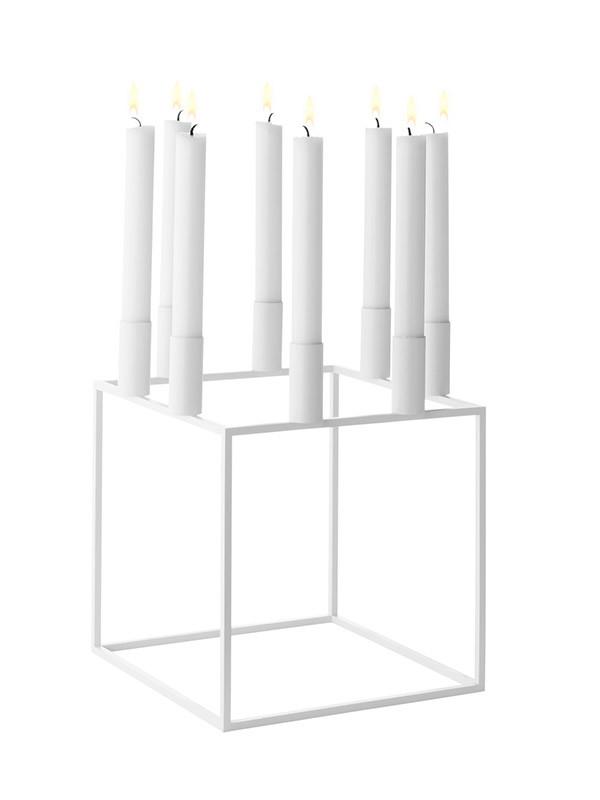Kubus 8 hvid lysestage fra By Lassen