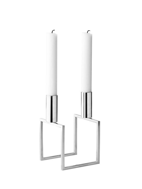 Line nikkel lysestage fra By Lassen