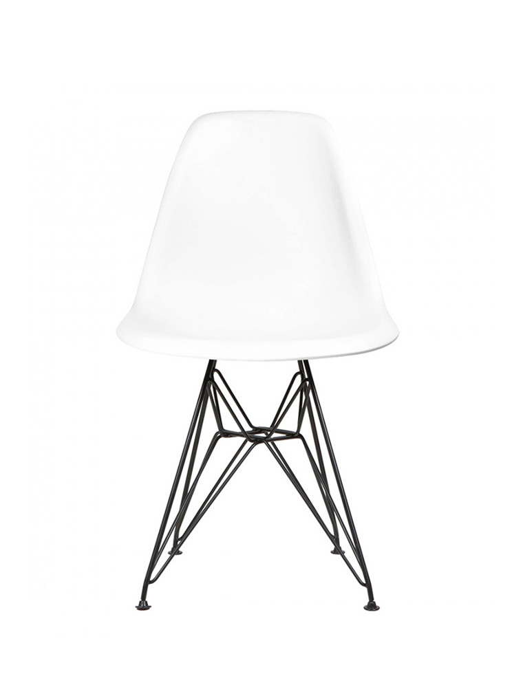 Eames Plastic Side Chair DSR, sort pulverlakeret fra Vitra