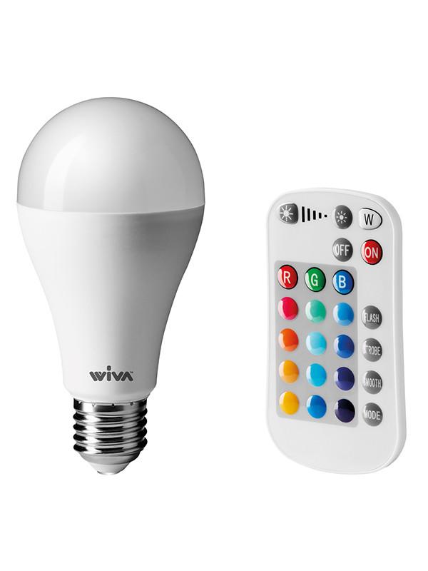 LED E27 pære med fjernbetjening fra Wiva