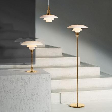 PH 3½-2½ gulvlampe, messing metalliseret fra Louis Poulsen