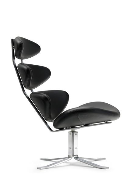 Tilbud på Corona stol i sort læder fra Erik Jørgensen