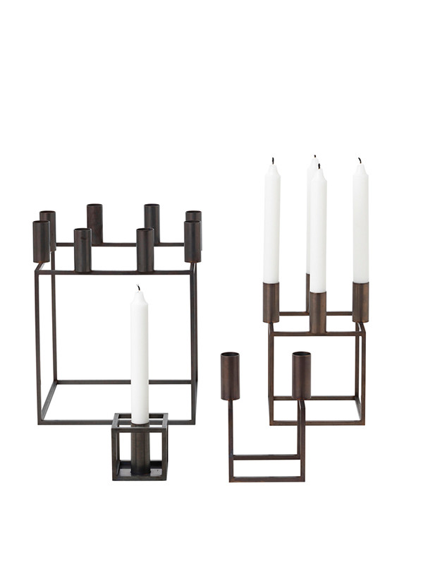 by lassen kubus 4 k b lysestage i bruneret kobber. Black Bedroom Furniture Sets. Home Design Ideas
