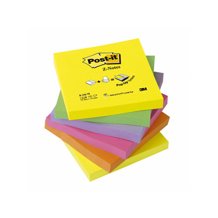 Post-it blok R-330NR z-fold 76x76mm neon farver 6blk/blk