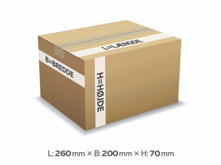 25 stk Bølgepapkasse 260x200x70mm 9025 - 3L - 3mm