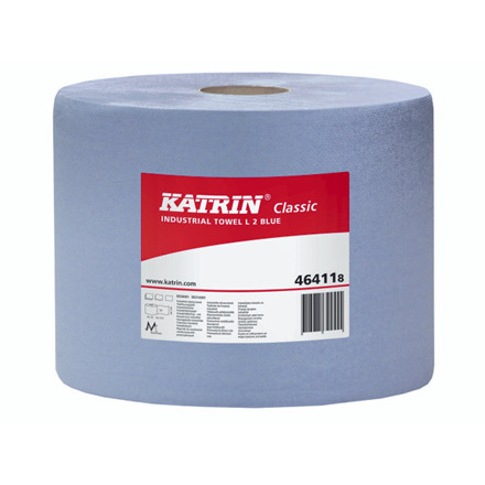 2 Ruller Aftørringspapir Katrin C L2 2-lag 22cmx380m blå 2rl