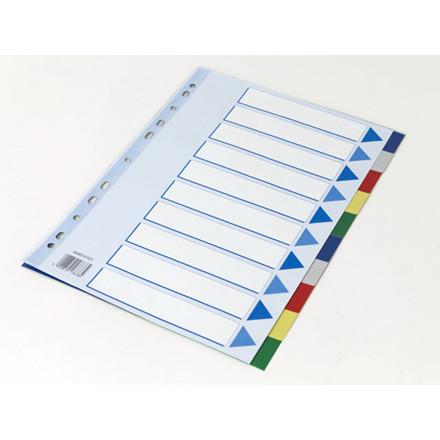 20 sæt Faneblad Q-Line A4 10-delt m/kartonforblad